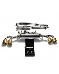 ARMYTRIX STAINLESS STEEL VALVETRONIC CATBACK EXHAUST 90MM SYSTEM W/RACE Y-PIPE NISSAN GT-R R35 WITH QUAD GOLD TIPS