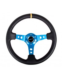 NRG Reinforced Steering Wheel (350mm / 3in. Deep) Blk Leather with Blue Cutout Spoke & Single Yellow CM