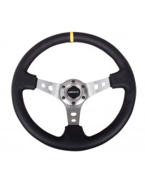 NRG Reinforced Steering Wheel (350mm / 3in. Deep) Blk Leather with Gunmetal Cutout Spoke & Yellow CM
