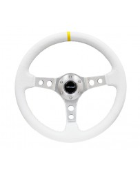 NRG Reinforced Steering Wheel (350mm / 3in. Deep) Wht Leather w/Silver Spoke & Single Yellow Mark