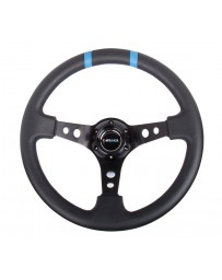 NRG Reinforced Steering Wheel 350mm Lthr Sprt Steering Wheel 3in Deep Blk Spoke with Blue Dbl Ctr Mark