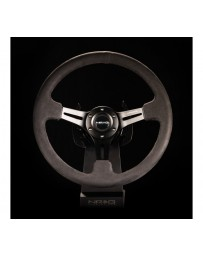 NRG Reinforced Steering Wheel (350mm / 3in. Deep) Black Leather with Alcantara Stitching