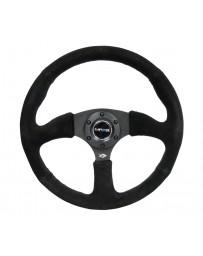 NRG Reinforced Steering Wheel (350mm / 2.5in. Deep) Blk Suede Comfort Grip with 5mm Matte Blk Spokes
