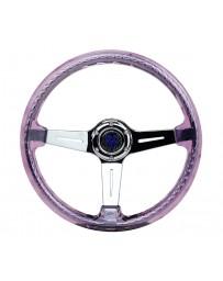 NRG Reinforced Steering Wheel (350mm / 2in. Deep) Clear Acrylic Steering wheel with Slits - Purp/Chr.