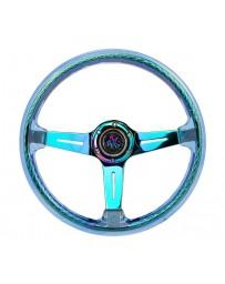 NRG Reinforced Steering Wheel (350mm/2in Deep) Acrylic Steering Wheel - Blue/NeoChrome Spoke Finish