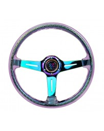 NRG Reinforced Steering Wheel (350mm / 2in. Deep) Clear Acrylic Steering Wheel with Neochrome Spokes