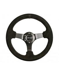 NRG Reinforced Steering Wheel (330mm / 3in Deep) Blk Suede with Criss Cross Stitch w/Blk 3-Spoke Center