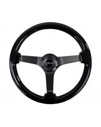 NRG Reinforced Steering Wheel (350mm / 3in. Deep) Black with Black Chrome Solid 3-Spoke Center
