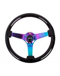 NRG Reinforced Steering Wheel (350mm / 3in. Deep) Classic Dark Wood with 4mm Neochrome Solid 3-Spoke