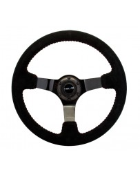 NRG Reinforced Steering Wheel (350mm / 3in. Deep) Blk Suede with Red BBall Stitch & Black 3-Spoke