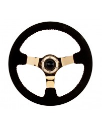 NRG Reinforced Steering Wheel (350mm / 3in. Deep) Blk Suede with Red BBall Stitch & Chrome Gold 3-Spoke