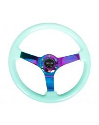 NRG Reinforc Steering Wheel (350mm / 3in. Deep) Minty Fresh Wood Grain with Neochrome 3-Spoke Center