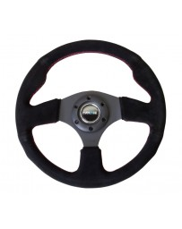 NRG Reinforced Steering Wheel (320mm) Suede with Red Stitch