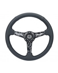 NRG Reinforced Steering Wheel (350mm / 2.5in. Deep) Leather Race Comfort Grip with 4mm Neochrome Spokes