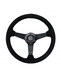 NRG Sport Steering Wheel (350mm / 1.5in Deep) Black Suede/Black Stitch with Matte Black Solid Spokes