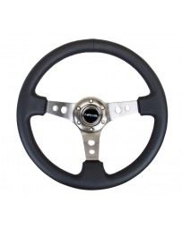 NRG Reinforced Steering Wheel (350mm / 3in. Deep) Blk Leather with Gunmetal Circle Cutout Spokes