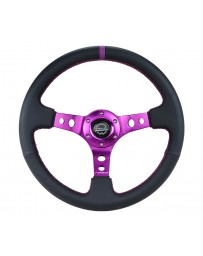 NRG Reinforced Steering Wheel (350mm / 3in. Deep) Black Leather with Purple Center & Purple Stitching