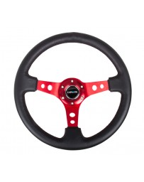 NRG Reinforced Steering Wheel (350mm / 3in. Deep) Blk Leather with Red Circle Cutout Spokes