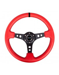 NRG Reinforced Steering Wheel (350mm / 3in. Deep) Red Leather/Blk Stitch with Blk Spokes (Hole Cutouts)