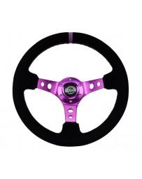 NRG Reinforced Steering Wheel (350mm / 3in. Deep) Black Suede w/Purple Center & Purple Stitching