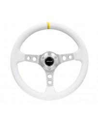 NRG Reinforced Steering Wheel (350mm / 3in. Deep) Wht Leather w/Silver Spoke & Single Yellow Mark
