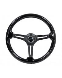 NRG Reinforced Steering Wheel (350mm / 3in. Deep) Blk Wood w/Blk Matte Spoke/Black Center Mark