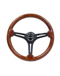 NRG Reinforced Steering Wheel (350mm / 3in. Deep) Brown Wood w/Blk Matte Spoke/Black Center Mark