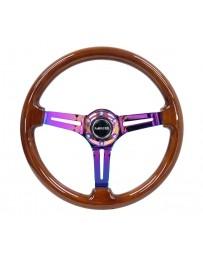 NRG Reinforced Steering Wheel (350mm / 3in. Deep) Brown Wood w/Blk Matte Spoke/Neochrome Center Mark