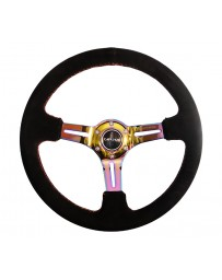 NRG Reinforced Steering Wheel (350mm / 3in. Deep) Blk Suede/Red Stitch w/Neochrome Slits
