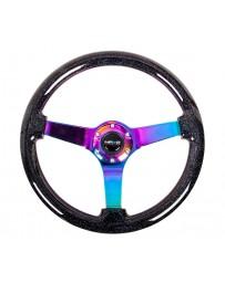 NRG Reinforced Steering Wheel (350mm / 3in. Deep) Classic Blk Sparkle w/4mm Neochrome 3-Spoke Center