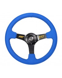 NRG Reinforced Steering Wheel (350mm / 3in. Deep) Blue Alcantara w/ Yellow Baseball stitching
