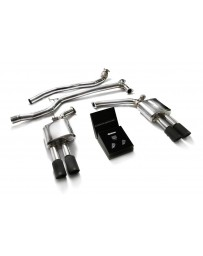 ARMYTRIX Stainless Steel Valvetronic Catback Exhaust System Quad Matte Black Tips Audi A5 Quattro 2008-2015