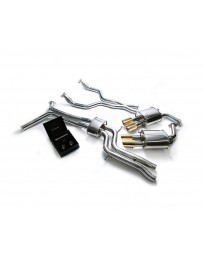 ARMYTRIX Stainless Steel Valvetronic Catback Exhaust System Quad Gold Tips Audi A6 A7 C7 3.0 TFSI V6 2011-2021