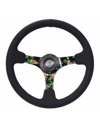NRG Innovations 3-Spoke Forrest Wang Formula Drift Pro Driver Reinforced Steering Wheel with Black Criss Cross Stitching