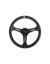 Toyota GT86 Greddy x Ken Gushi KG21 Racing Steering Wheel Black with Yellow, Teal & Navy Stitching & Center Stripe