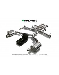 ARMYTRIX Stainless Steel Valvetronic Catback Exhaust System Quad Gold Tips for BRABUS Diffuser Mercedes C400 C43 AMG