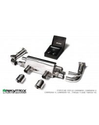 ARMYTRIX Stainless Steel Sport Valvetronic Catback Exhaust System Dual Blue Silver Tips Porsche 991.2 Carrera 17-18