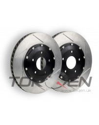 370z Stoptech 2pc 2 Piece Aero Rotor Direct Replacement, Slotted, Akebono Sport Caliper, Front