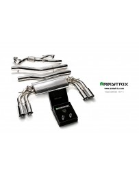 ARMYTRIX Stainless Steel Valvetronic Catback Exhaust System Quad Matte Black Tips Volkswagen Golf R MK7 14-16
