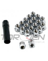 370z TORQEN Splined Lug Nut Set, 12x1.25mm 20 Pack with Key - Open, Chrome