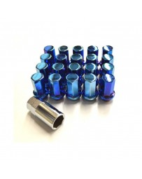 R35 GT-R Project Kics Heptagon Caliber 24 Closed Ended Lug Nuts M12X1.25, Blue Titanium