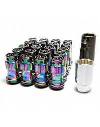 Nissan GT-R R35 Project Kics R40 Iconix Lug Nuts with Locks Neo-Chrome with Plastic Cap M12X1.25, Black