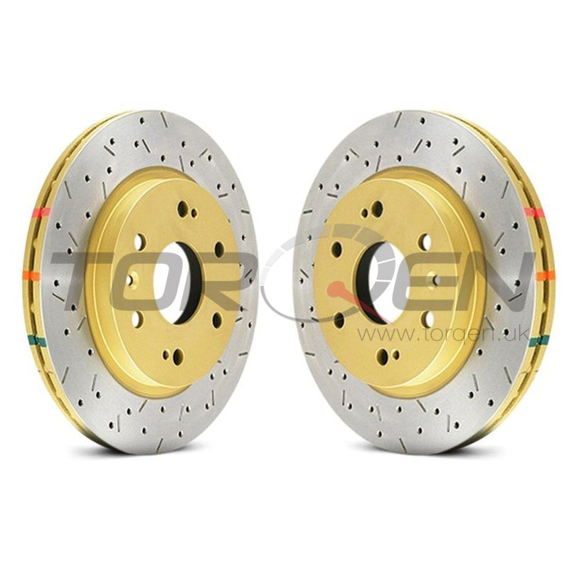 350z DBA HD Series 4000XS Series Drilled and Slotted Vented 1-Piece Rear  Brake Rotor - Pair of 2 - TORQEN