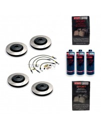 370z StopTech F+R Brake Discs Pads Lines and Fluid Pack - Slotted - Akebono