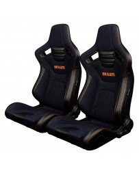 BRAUM ELITE-X SERIES RACING SEATS (NAVY DENIM - ORANGE STITCHING) – PAIR