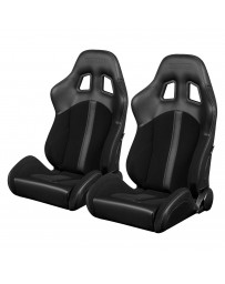 BRAUM DEFENDER SERIES RACING SEATS (BLACK STRIPE) – PAIR