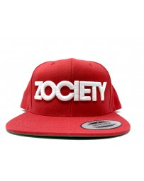 ZOCIETY Red hat with snap back and white logo