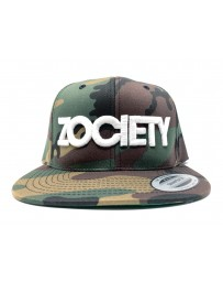 ZOCIETY Camo hat with snap back and white logo