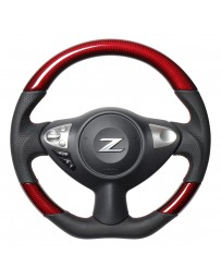 370z REAL JAPAN Steering wheel - Red Carbon - Black Euro stitching