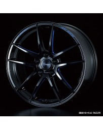 WedsSport RN-55M 18x8.5 5x114.3 ET52 Wheel- Black with Blue Machining